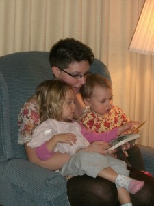 One of the sweeter dialog moments I've witnessed--my daughter-in-law Adele with my granddaughters Aydan and Edie.