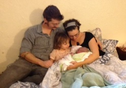 Kevin, Adele, Edie and Rory, on the morning of Rory's birth