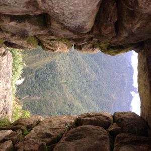 You look through a stone window, and it's like the whole world is below you.